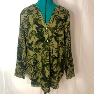 OLD NAVY • palm leave print blouse • NWOT